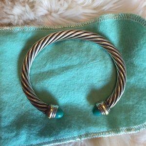 David Yurman turquoise w/ 14K gold cable bracelet